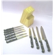 Knives Set 10 pcs POM Handle With Titanium Plated Plus Woode