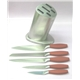 5Pcs Hollow Handle Knife with Wooden Block