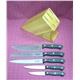 Knife Set 5pcs POM Handle Plus Rubber Wooden Block
