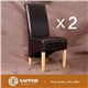 2 x New Dark Brown Leather Dining Chair UK