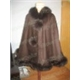cashmere cape with fox fur trim/FS887