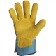 Safety glove. Yellow cow split leather palm.
