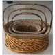 Deep brown curve  willow basket set of 3 with drop handle
