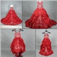 Red Taffeta Embroidery Kids wedding dress
