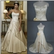 Discount Real Picture V neck line Champagne wedding dress
