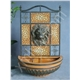 Lion-head wall fountain with metal frame