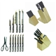 12 pcs Stainless Steel Titanium Plated Knives Set Plus Woode