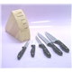5PCS Bakelite Handle Knife Set Plus Wooden Block